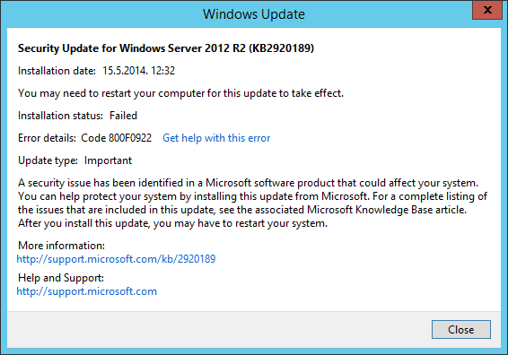"""Latest """"Patch Tuesday"""" – errors installing update « blog"""